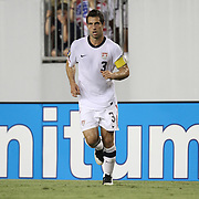 USA defender Carlos Bocanegra (3) passes during a CONCACAF Gold Cup soccer match between the United States and Panama on Saturday, June 11, 2011, at Raymond James Stadium in Tampa, Fla. (AP Photo/Alex Menendez)