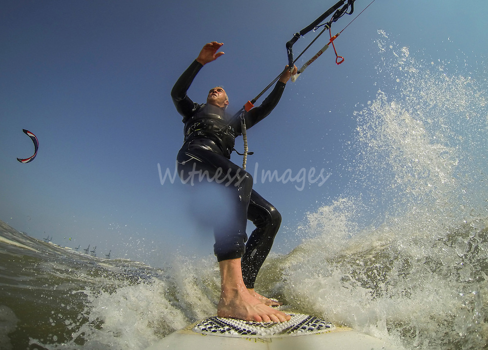 Kitesurf in Zeebrugge on July  2013. Witness Images/Thierry Roge