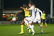 Alex Gorrin of Oxford United (6) beats Lucas Akins of Burton Albion (10) to the ball during the EFL Sky Bet League 1 match between Burton Albion and Oxford United at the Pirelli Stadium, Burton upon Trent, England on 11 February 2020.