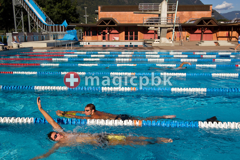 Ian THORPE (2nd from the bottom) of Australia swims with a kick-board during a training session held at the 50m outdoor training pool at the Centro sportivo nazionale della gioventu in Tenero, Switzerland, Friday, Sept. 9, 2011. (Photo by Patrick B. Kraemer / MAGICPBK)