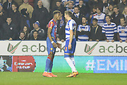 Crystal Palace midfielder Wilfried Zaha and Reading FC defender Chris Gunter exchange words during the The FA Cup Quarter Final match between Reading and Crystal Palace at the Madejski Stadium, Reading, England on 11 March 2016. Photo by Mark Davies.