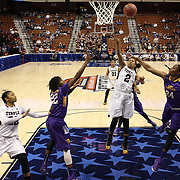 Feyonda Fitzgerald, Temple, shoots during the Temple Vs East Carolina Quarterfinal Basketball game during the American Women's College Basketball Championships 2015 at Mohegan Sun Arena, Uncasville, Connecticut, USA. 7th March 2015. Photo Tim Clayton