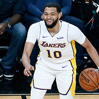 08 October 2017: Los Angeles Lakers guard Tyler Ennis (10) is seen during the LA Lakers 75-69 victory over the Sacramento Kings, at the T-Mobile Arena, Las Vegas, Nevada, USA.
