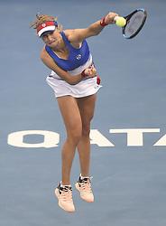DOHA, Feb. 14, 2018  Ekaterina Makarova of Russia serves during the single's second round match against Simona Halep of Romania at the 2018 WTA Qatar Open in Doha, Qatar, on Feb. 14, 2018. Ekaterina Makarova lost 0-2.   wll) (Credit Image: © Nikku/Xinhua via ZUMA Wire)