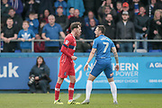 Jamie Devitt (Carlisle United) and Nathan Thomas (Hartlepool United) square up to one another during the EFL Sky Bet League 2 match between Hartlepool United and Carlisle United at Victoria Park, Hartlepool, England on 14 April 2017. Photo by Mark P Doherty.