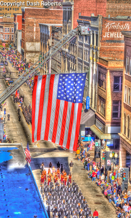 U.S. Flag flies over Gay Street as the 2011 Veteran's Day Parade takes place in downtown Knoxville, Tn.