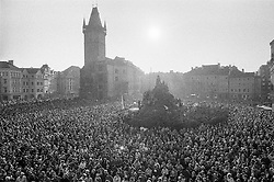 On the balcony of the Palais Kinsk&yacute;, Old Town Square, Prague, 23 February 1990<br />