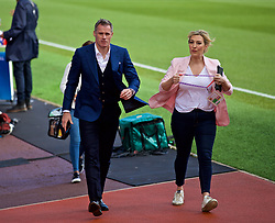 BURNLEY, ENGLAND - Saturday, August 31, 2019: Former Liverpool player and Sky Sports pundit Jamie Carragher (L) with presenter Kelly Cates (Nee Dalglish) before the FA Premier League match between Burnley FC and Liverpool FC at Turf Moor. (Pic by David Rawcliffe/Propaganda)
