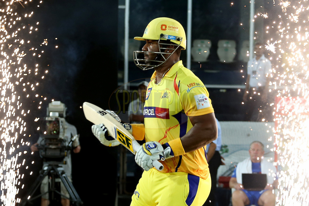 Opening batsman Dwayne Smith running out onto the field during the second semi final match of the Oppo Champions League Twenty20 between the Kings XI Punjab and the Chennai Super Kings held at the Rajiv Gandhi Cricket Stadium, Hyderabad, India on the 2nd October 2014. Photo by:  Jacques Rossouw / Sportzpics/ CLT20<br /> <br /> <br /> Image use is subject to the terms and conditions as laid out by the BCCI/ CLT20.  The terms and conditions can be downloaded here:<br /> <br /> http://sportzpics.photoshelter.com/gallery/CLT20-Image-Terms-and-Conditions-2014/G0000IfNJn535VPU/C0000QhhKadWcjYs