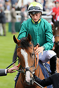 Jockey Harry Bentley on Ceilidhs Dream in the Parade Ring before The Group 3 Tattersalls Musidora Stakes over 1m 2f (£100,000) at the York Dante Meeting at York Racecourse, York, United Kingdom on 16 May 2018. Picture by Mick Atkins.