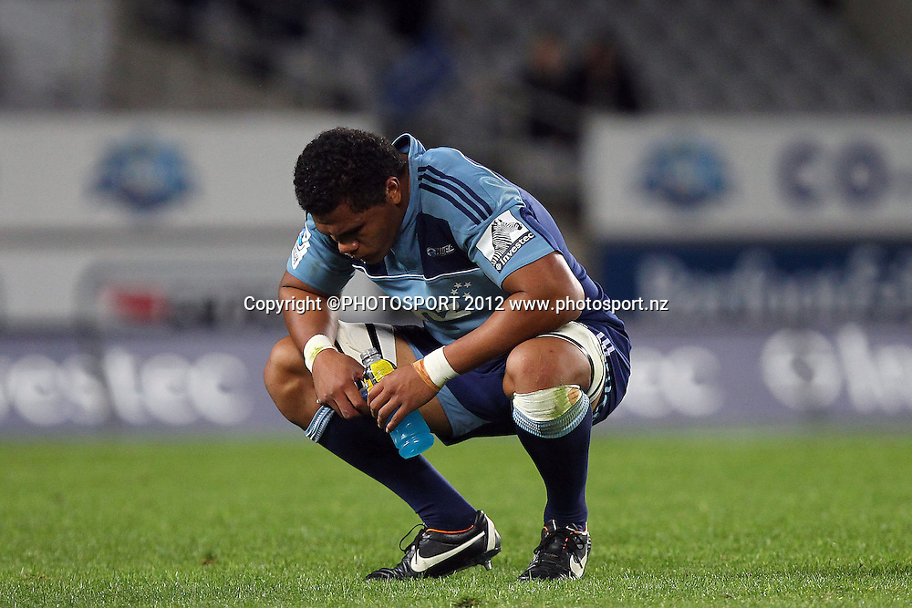 Blues' Peter Saili dejected. Super Rugby rugby union match, Blues v Sharks at Eden Park, Auckland, New Zealand. Friday 13th April 2012. Photo: Anthony Au-Yeung / photosport.co.nz
