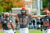 KELOWNA, BC - OCTOBER 6: Cole Stregger #19 of Okanagan Sun hand gestures to the bench against the VI Raiders at the Apple Bowl on October 6, 2019 in Kelowna, Canada. (Photo by Marissa Baecker/Shoot the Breeze)