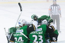 06.09.2012. Hala Tivoli, Ljubljana, SLO, EBEL, HDD Telemach Olimpija Ljubljana vs UPC Vienna Capitals, 01. Runde, in picture players of HDD Telemach Olimpija celebrate Ziga Pance's goal during the Erste Bank Icehockey League 1st Round match betweeen HDD Telemach Olimpija Ljubljana and UPC Vienna Capitals at the Hala Tivoli, Ljubljana, Slovenia on 2012/09/06. (Photo By Matic Klansek Velej / Sportida)