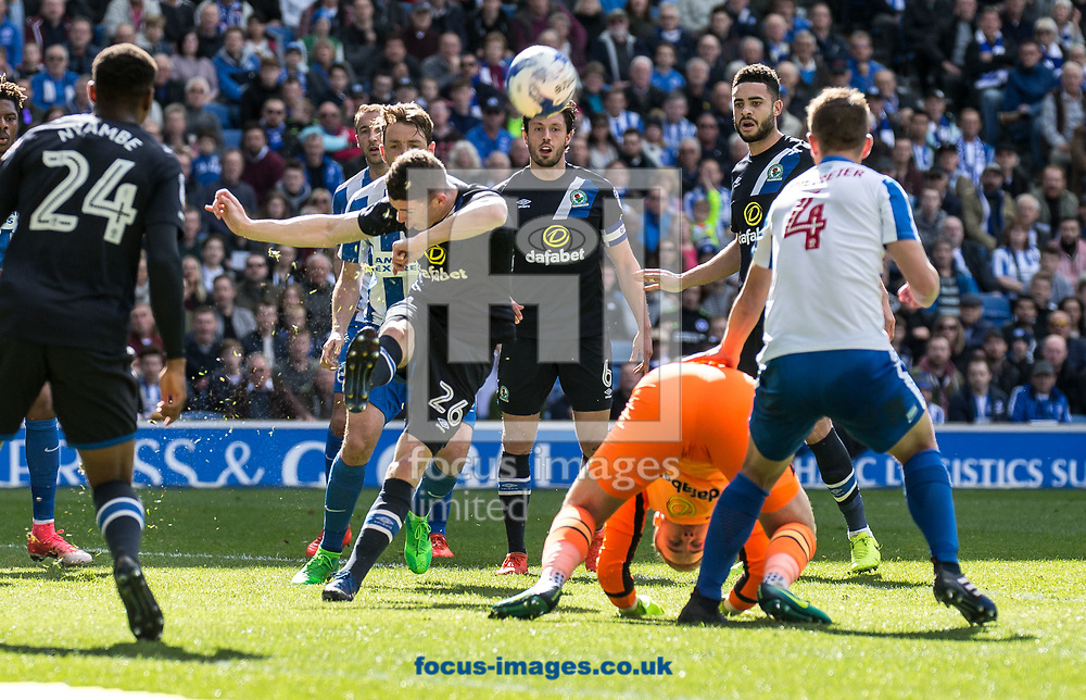 Darragh Lenihan of Blackburn Rovers clears during the Sky Bet Championship match at the American Express Community Stadium, Brighton and Hove<br /> Picture by Liam McAvoy/Focus Images Ltd 07413 543156<br /> 01/04/2017