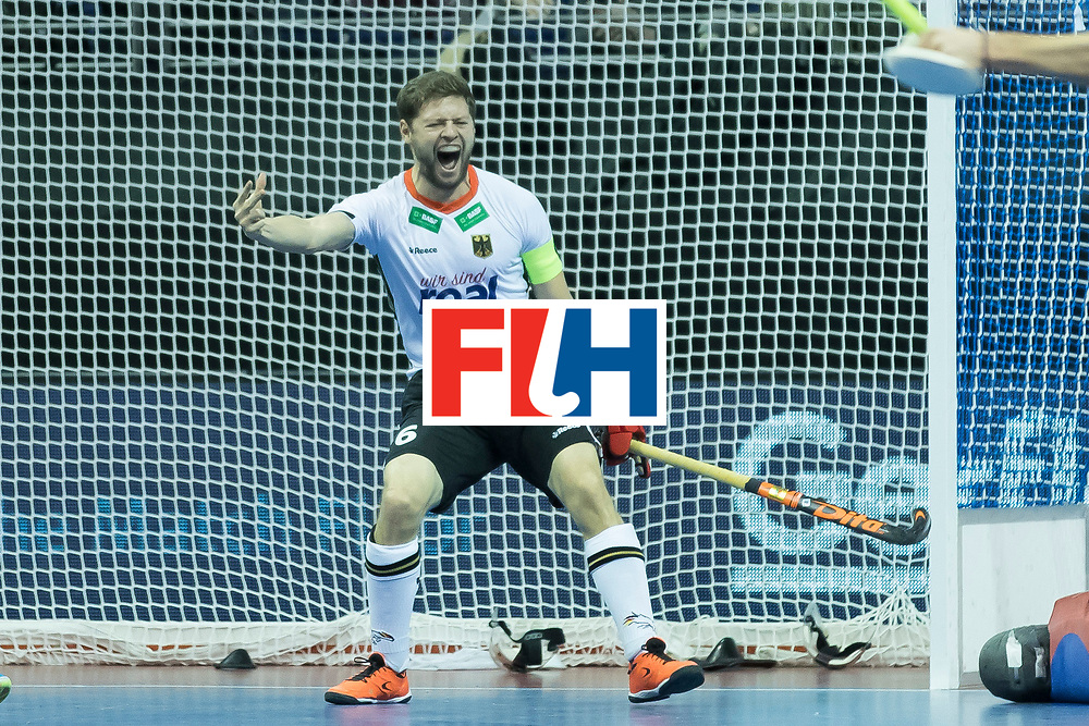 Hockey, Seizoen 2017-2018, 09-02-2018, Berlijn,  Max-Schmelling Halle, WK Zaalhockey 2018 MEN, Germany - Switzerland 3-0, goal Martin Häner. Worldsportpics copyright Willem Vernes
