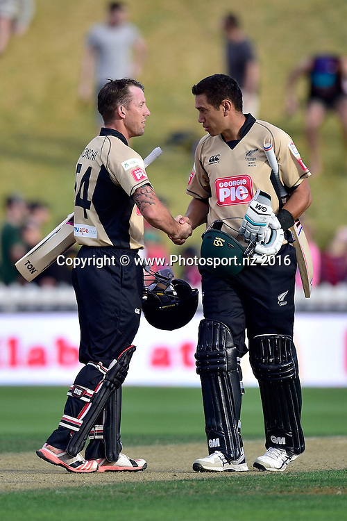 Ross Taylor (R captain of the North Island with team mate Luke Ronchi celebrate their win during the North Island vs South Island cricket match at the Basin Reserve in Wellington on Sunday the 28th of February 2016. Copyright Photo by Marty Melville / www.Photosport.nz