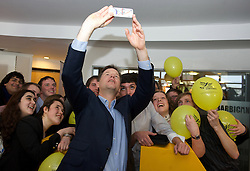 Nick Clegg MP Leader of the Liberal Democrats taking a selfie with delegates and party activists from Liberal Youth during the Liberal Democrats Annual Spring Conference in York, United Kingdom. Saturday, 8th March 2014. Picture by Elliot Franks / i-Images