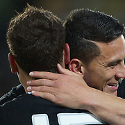 Israel Dagg, (left) and Sonny Bill WIlliams, New Zealand, embrace after the New Zealand V France Final at the IRB Rugby World Cup tournament, Eden Park, Auckland, New Zealand. 23rd October 2011. Photo Tim Clayton...