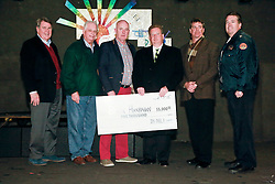 07 February 2015. New Orleans, Louisiana.<br /> Irish Network New Orleans (IN-NOLA) presents a cheque for $5,000 to Brian Hanrahan, father of Irish Garda Brian Hanrahan who was shot in New Orleans on January 27th, 2015.<br /> L/R; Judge Jim McKay, Dickie Burke (President of the Irish Channel), Brian Hanrahan, Adrian D'Arcy (President In-NOLA), Rick Graham (Teasurer IN-NOLA) and Captain Frederick Morgan of New Orleans Police Department.<br /> Photo; Charlie Varley/varleypix.com
