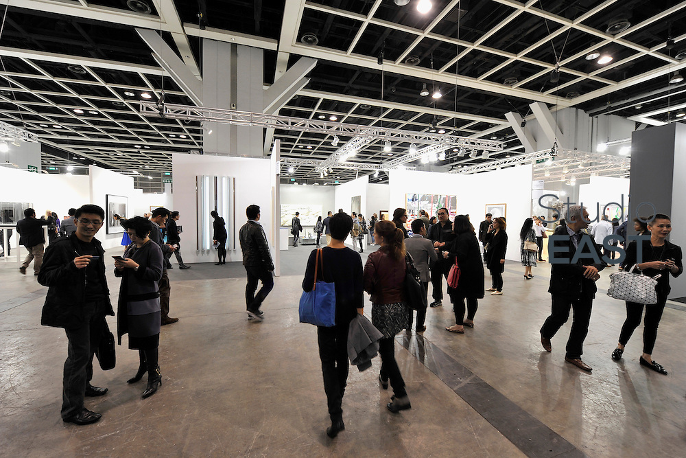 HONG KONG - MARCH 13:  Visitors enter art fair Art Basel on its preview day on March 13, 2015 in Hong Kong, Hong Kong.  (Photo by Lucas Schifres/Getty Images)