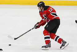 Dec 18, 2013; Newark, NJ, USA;  New Jersey Devils right wing Damien Brunner (12) skates with the puck during the third period at the Prudential Center.  The Devils defeated the Senators 5-2.