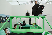 New York, NY - 6 May 2016. Frieze New York art fair. A performance piece for Frieze Projects by Anthea Hamilton, titled Kar-a-sutra, payng homage to Italian architect and designer Mario Bellini.