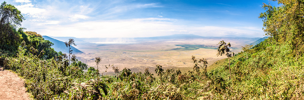 Panoramic view from the rim of Ngorongoro Crater in the Ngorongoro Conservation Area, part of Tanzania's northern circuit of national parks and nature preserves.