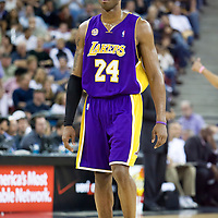 SACRAMENTO, CA - APRIL 06: Kobe Bryant #24 of the Los Angeles Lakers looks on during a game at the Arco Arena on April 4, 2008 in Sacramento, CA. NOTE TO USER: User expressly acknowledges and agrees that, by downloading and or using this photograph, User is consenting to the terms and conditions of the Getty Images License Agreement. Mandatory Credit: 2008 NBAE (Photo by Chris Elise/NBAE via Getty Images)