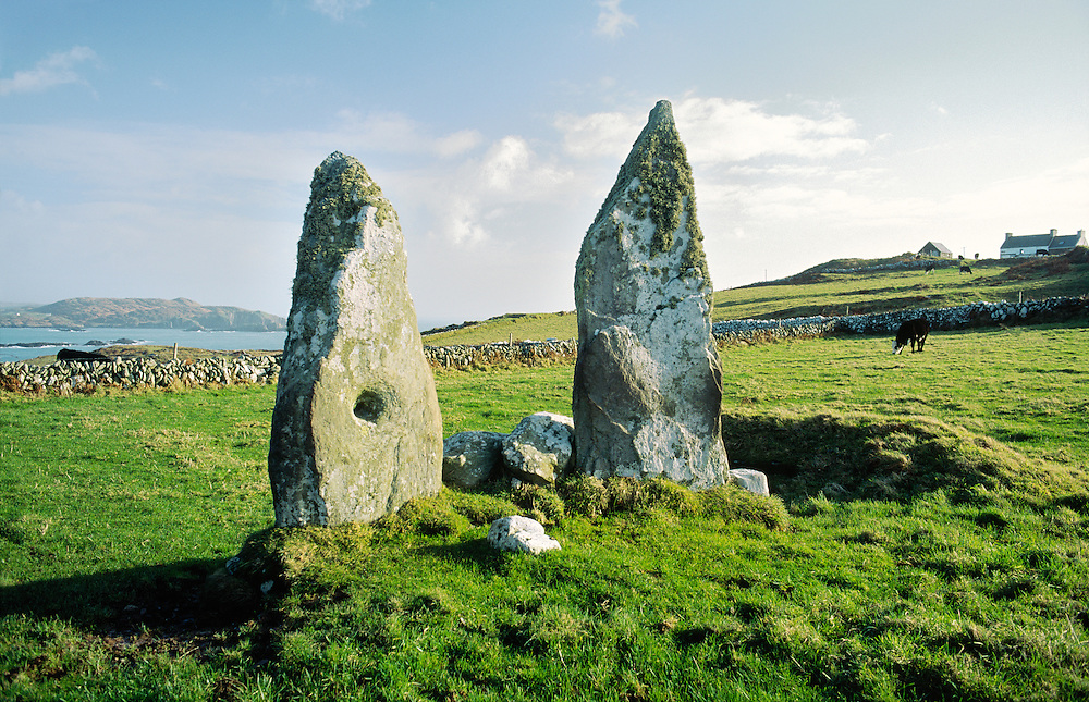 Prehistoric megalithic standing stones known as the Marriage Stones on northeast end of Cape Clear Island, County Cork, Ireland.