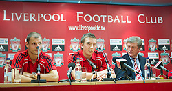 LIVERPOOL, ENGLAND - Tuesday, July 27, 2010: Liverpool FC's new signings Milan Jovanovic and Danny Wilson with manager Roy Hodgson during a press conference at Anfield. (Pic by David Tickle/Propaganda)