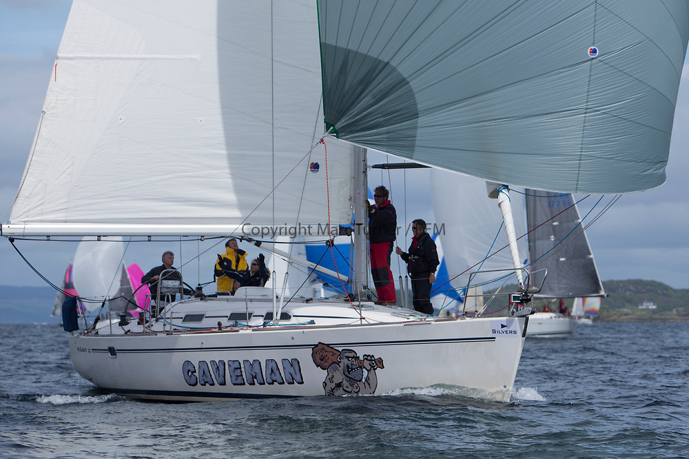 Silvers Marine Scottish Series 2017<br /> Tarbert Loch Fyne - Sailing<br /> <br /> GBR1725R, Caveman, Nik Atkinson,F Venters, Royal Northumberld YC, Elan 40<br /> <br /> Credit: Marc Turner / CCC