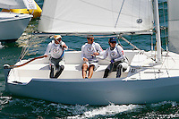1 August 2015: Special Olympic World Games Los Angeles Sailing Finals in Long Beach, California.  Team Greece #52 Petros Andronikos Antzinas, #53 Georgia Gkevezou and Unified partner #71 Thermirstokis Darousis race in Cal 20's while rounding a buoy and head to their next mark on the final day of racing in the pacific ocean.