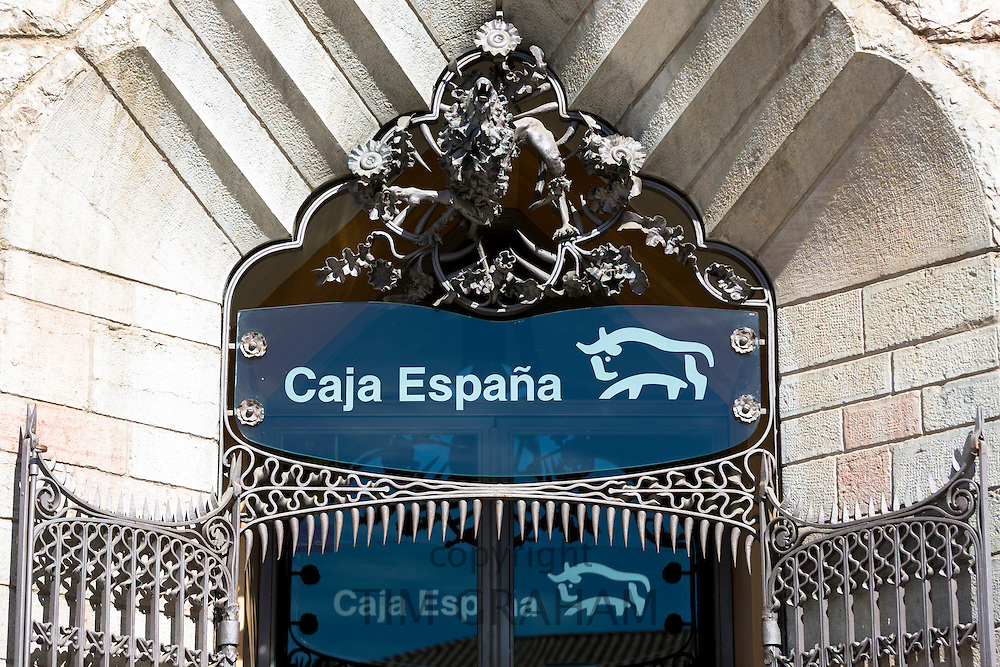 Caja Espana savings bank in Casa Botines designed by architect Antoni Gaud in Leon, Castilla y Leon, Spain