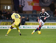 Dundee&rsquo;s James Vincent and Hearts&rsquo; Arnaud Sutchuin Djum - Dundee v Hearts in the Ladbrokes Scottish Premiership at Dens Park, Dundee. Photo: David Young<br /> <br />  - &copy; David Young - www.davidyoungphoto.co.uk - email: davidyoungphoto@gmail.com