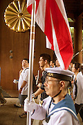 On the 61st anniversary of the end of World War II (August 15, 2006) in the Pacific, tens of thousands came to pay their respects for Japan's war dead at Tokyo's Yasukuni Shrine, the national Shinto shrine where nearly 2.5 million war dead from the past 140 years are enshrined. This includes fourteen World War II class A war criminals who are enshrined here and the main cause of controversy since Japanese politicians regularly pay their respects here. Among them is outgoing Japanese Prime Minister Junichiro Koizumi who made an official visit here today in the early morning hours pre-empting protesters. Although Koizumi has visited this shrine five times before, this was the first time he did so on the war anniversary, a campaign pledge made when be was vying to become Prime Minister. Others who made their pilgrimages here today included World War II veterans and family members, as well as rightists and the curious. This view shows some of the war veterans.