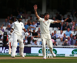 September 10, 2018 - London, Greater London, United Kingdom - England's Alastair Cook  gets caught by Rishabh Pant of India and bowled by Hanuma Vhari of India.during International Specsavers Test Series 5th Test match Day Four  between England and India at Kia Oval  Ground, London, England on 10 Sept 2018. (Credit Image: © Action Foto Sport/NurPhoto/ZUMA Press)