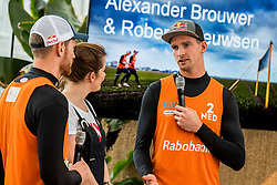 28-03-2018 NED: Kickstart Food van Rabobank, Utrecht<br /> A clever mix of the tastiest seasonal vegetables for the sports public, coming from Dutch local companies. That is the core of the new food program that enables Rabobank and the Nevobo at the Moestuin in Utrecht / Robert Meeuwsen , Alexander Brouwer, presenter Sofie van den Enk,