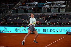 May 8, 2019 - Madrid, Spain - Simona Halep (BEL) in her match against Viktoria Kuzmova (SVK) during day four of the Mutua Madrid Open at La Caja Magica in Madrid on 8th May, 2019. (Credit Image: © Juan Carlos Lucas/NurPhoto via ZUMA Press)