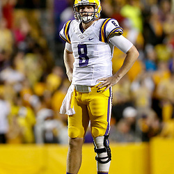 Sep 21, 2013; Baton Rouge, LA, USA; LSU Tigers quarterback Zach Mettenberger (8) against the Auburn Tigers during the second half of a game at Tiger Stadium. LSU defeated Auburn 35-21. Mandatory Credit: Derick E. Hingle-USA TODAY Sports