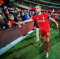 ADELAIDE, AUSTRALIA - Monday, July 20, 2015: Liverpool's captain Jordan Henderson applauds the supporters after the 2-0 victory over Adelaide United during a preseason friendly match at the Adelaide Oval on day eight of the club's preseason tour. (Pic by David Rawcliffe/Propaganda)