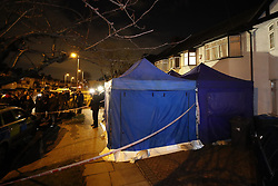 © Licensed to London News Pictures. 13/03/2018. London, UK. A police evidence tent covers the drive of the  house of Russian exile Nikolai Glushkov in south west London. Mr Glushkov, a friend the late oligarch Boris Berezovsky, and a former deputy director of Russian state airline Aeroflot, died at his home in Monday night. Photo credit: Peter Macdiarmid/LNP