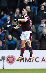 Hearts David Milinkovic celebrates scoring his side's fourth goal of the game from the penalty spot during the Ladbrokes Scottish Premiership match at Tynecastle Stadium, Edinburgh.