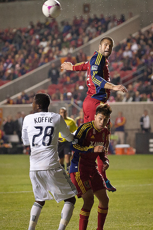 Real Salt Lake defender Chris Wingert makes a flick in the box during the second half of the MLS match between Real Salt Lake and Vancouver Whitecaps FC at Rio Tinto Stadium, Saturday, Oct. 27, 2012.