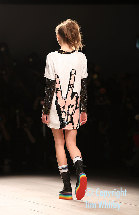 LONDON, ENGLAND - FEBRUARY 21:  A model walks the runway during Ashish show at London Fashion Week Autumn/Winter 2012 at Somerset House on February 21, 2012 in London, England.  (Photo by Tim Whitby/Getty Images)