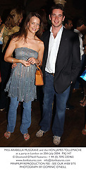 MISS ARABELLA MUSGRAVE and the HON.JAMES TOLLEMACHE at a party in London on 20th July 2004.PXJ 147