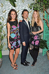 Left to right, ROSANNA FALCONER, MATTHEW WILLIAMSON and GEORGIE MACINTYRE at the launch of Matthew Williamson's 'Sea to Shore' range for The Outnet.com held at the Matthew Williamson's showroom, Studio 10-11, 135 Salusbury Road, London NW6 on 5th May 2016