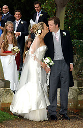 TOM PARKER BOWLES and his bride SARA BUYS at the wedding of Tom Parker Bowles to Sara Buys at St.Nicholas Church, Rotherfield Greys, Oxfordshire on 10th September 2005.<br />