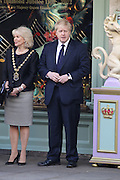 01.MARCH.2012. LONDON<br /> <br /> BORIS JOHNSON VISITS FORTNUM AND MASON ON ROYAL VISIT IN LONDON. THE ROYALS VISIT THE DEPARTMENT STORE AS THE QUEEN UNVEILS A PLAQUE TO COMMEMORATE THE REGENERATION OF PICCADILLY. <br /> <br /> BYLINE: EDBIMAGEARCHIVE.COM<br /> <br /> *THIS IMAGE IS STRICTLY FOR UK NEWSPAPERS AND MAGAZINES ONLY*<br /> *FOR WORLD WIDE SALES AND WEB USE PLEASE CONTACT EDBIMAGEARCHIVE - 0208 954 5968*