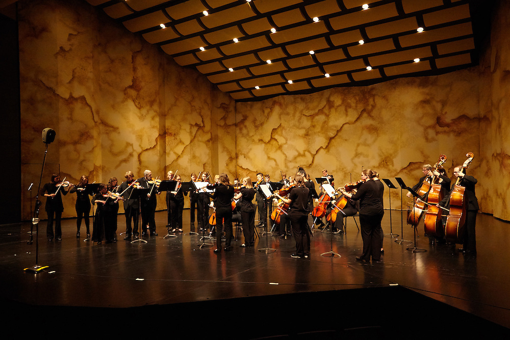 Activity; Playing; Location; Inside; Objects; Band; People; Student Students; Type of Photography; Candid; UWL UW-L UW-La Crosse University of Wisconsin-La Crosse; symphony orchestra; Viterbo Fine Arts Center