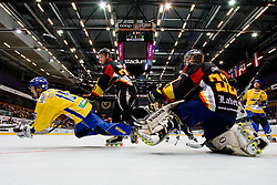 Thomas Ower of Germany and Simon Olsson of Sweden at IIHF In-Line Hockey World Championships Quarter final match between national teams of Sweden and Germany on July 2, 2010, in Karlstad, Sweden. (Photo by Matic Klansek Velej / Sportida)